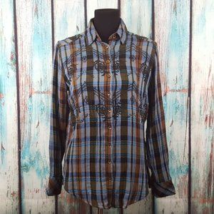 Free People Magical Embroidered Plaid Shirt